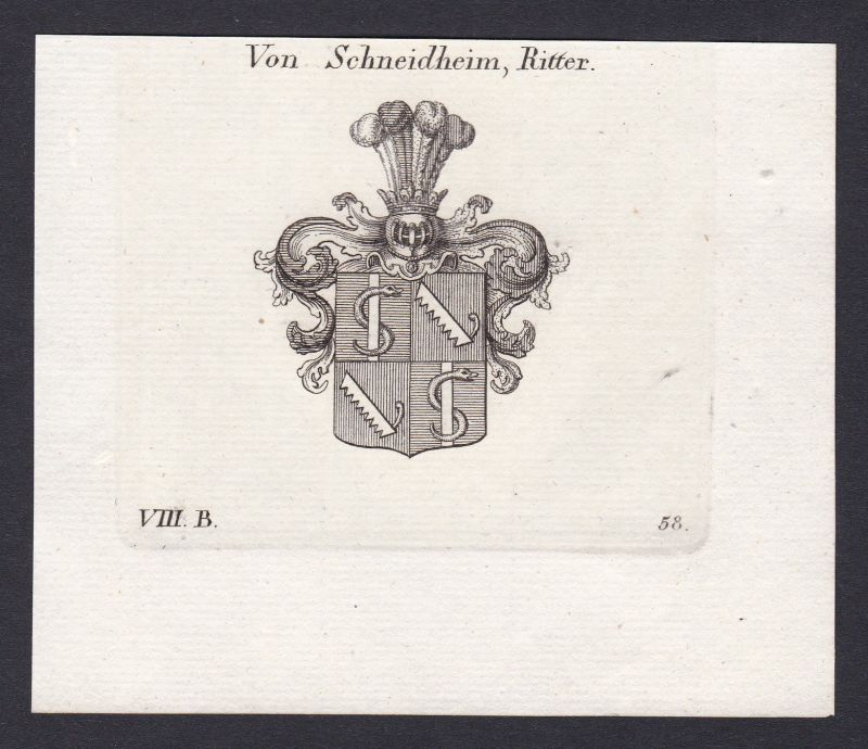 1820 Schnaitheim Wappen Adel coat of arms Heraldik Kupferstich antique print