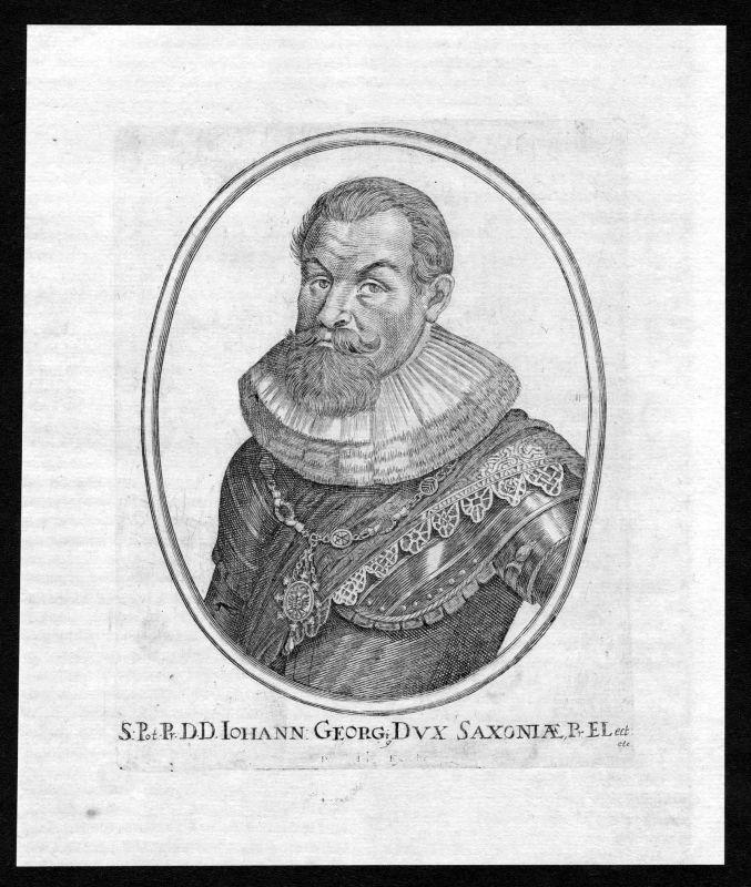 17. Jh. Johann Georg I. von Sachsen Portrait Kupferstich antique print