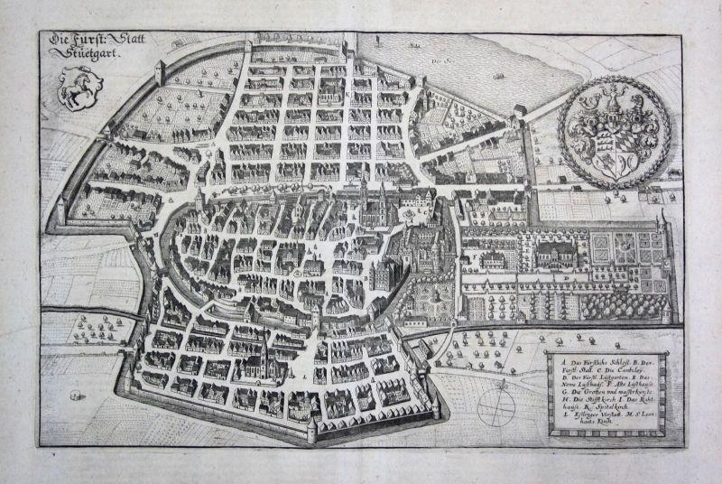 1698 Stuttgart Karte plan Ansicht view Kupferstich antique print Merian