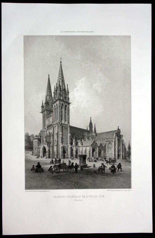 1860 - St. Pol de Leon Kirche Finistere Bretagne Frankreich France Lithographie