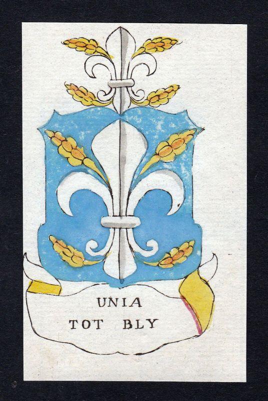 Unia Bly Niederlande Friesland Wappen Adel coat of arms Kupferstich engraving