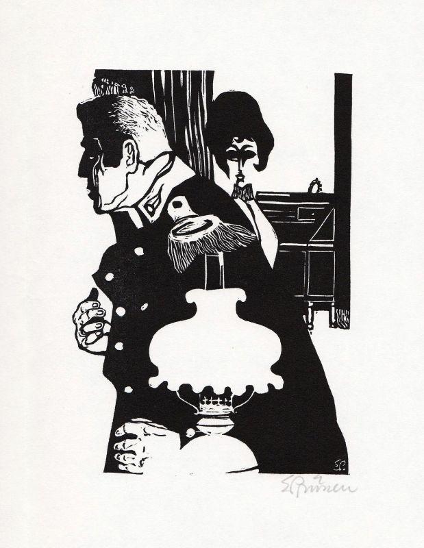 1966 Eduard Prüssen August Strindberg Linolschnitt