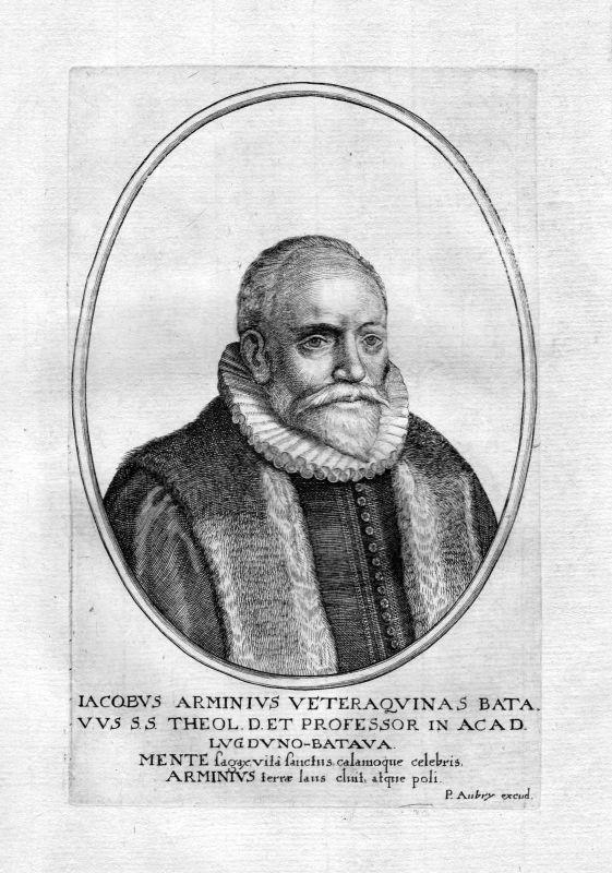 1650 Jacobus Arminius Leiden Nederland Portrait Kupferstich antique print Aubry