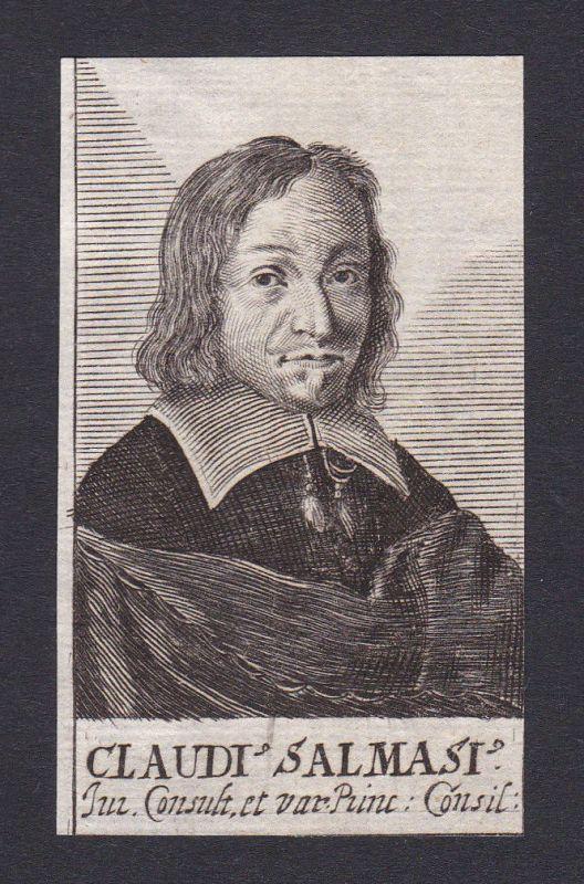 17. Jh. Claudius Salmasius / humanist Berater Portrait Kupferstich
