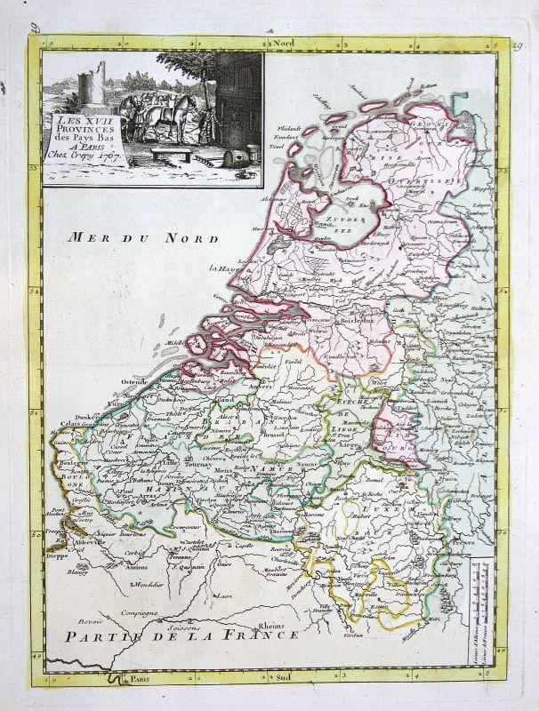 1767 Nederland Niederlande Karte map Kupferstich antique print Le Rouge