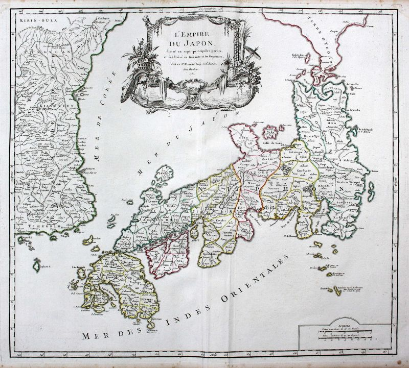 1750 Japan Tokio Tokyo Asien Asia Nippon Karte map Kupferstich antique print