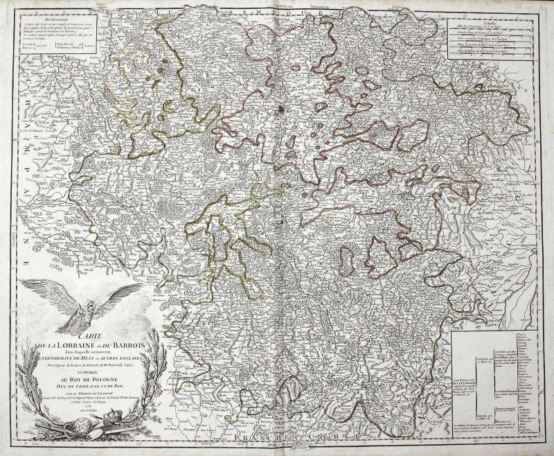 1756 Lothringen Frankreich France Barrois Metz Nancy Karte map Kupferstich