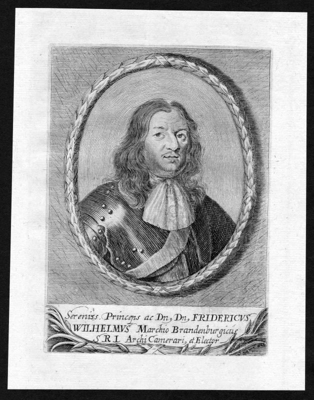 17. Jh Friedrich Wilhelm Markgraf Brandenburg Portrait Kupferstich antique print