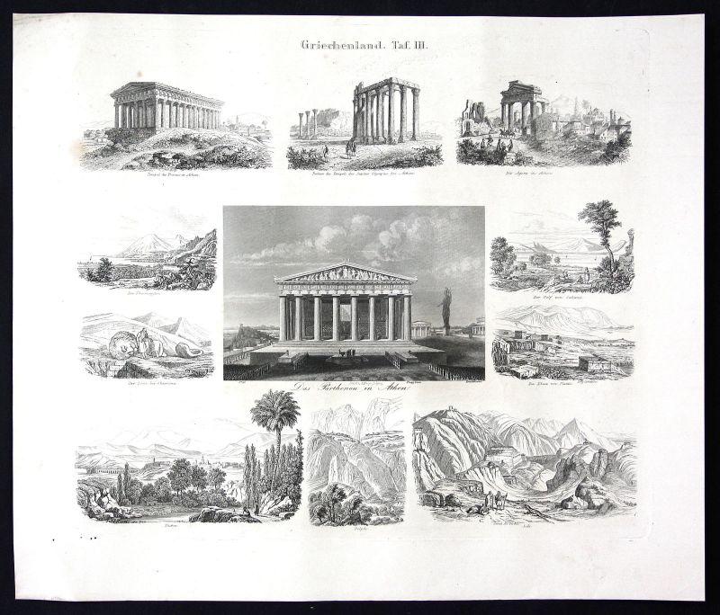 Ca. 1860 Griechenland Greece Souvenirblatt Ansicht view Stahlstich antique print