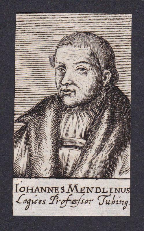 17. Jh. Johannes Mendlin Tübingen Professor Portrait Kupferstich antique print