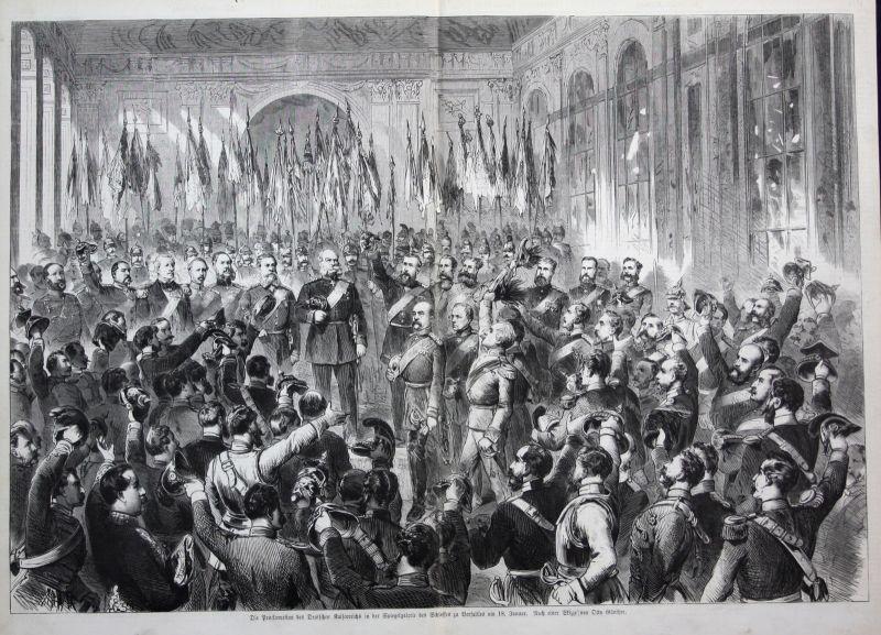 1871 Proklamation Kaiserreich Versailles Original Holzstich woodcut gravure