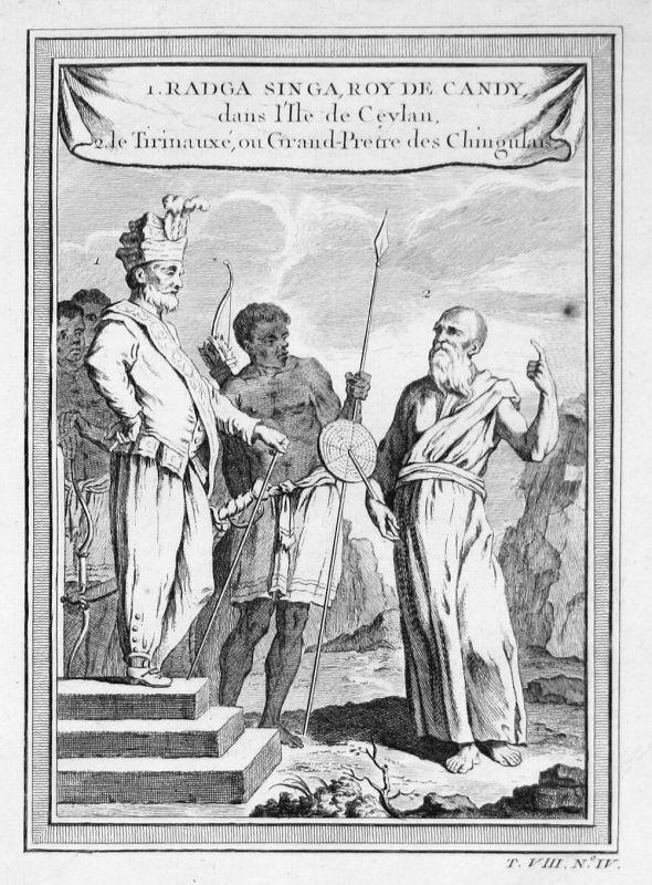 Ca. 1750 Sri Lanka Radga Singa king Trachten costumes Kupferstich antique print