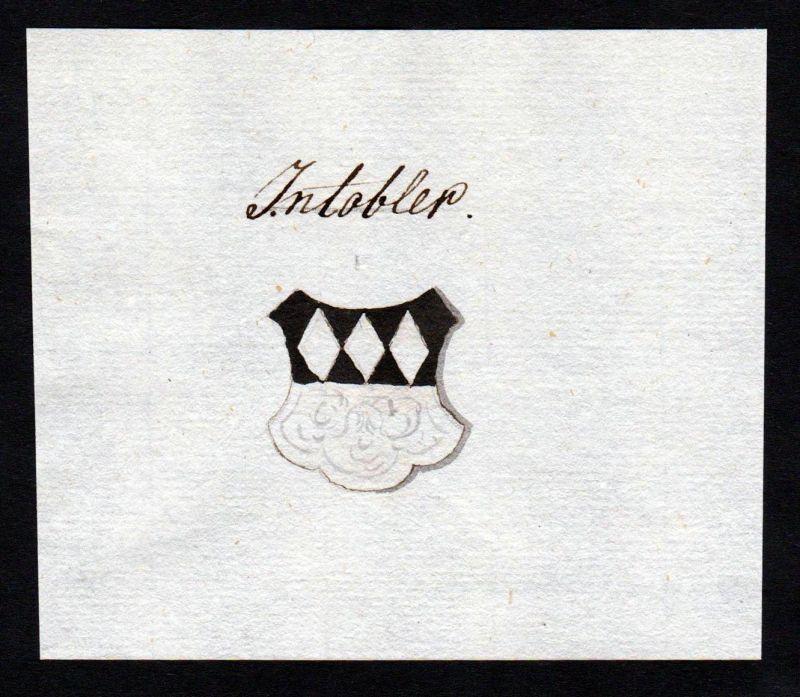 18. Jh. Intobler Adel Handschrift Manuskript Wappen manuscript coat of arms