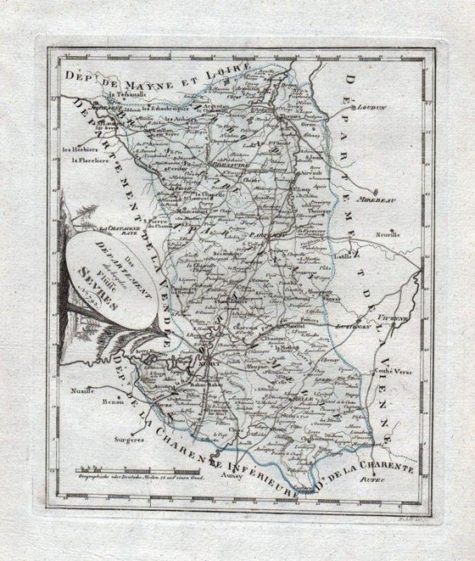 1780 - Deux-Sevres Niort Parthenay Bressuire Karte gravure estampe ...