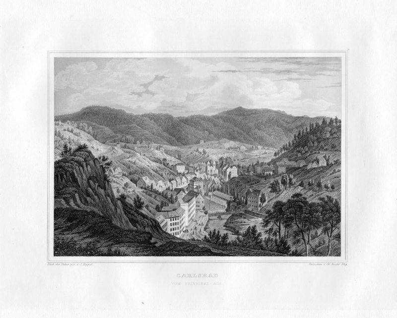 1850 Carlsbad vom Belvedere Karlsbad Tschechien Tschechei Stahlstich Rosee