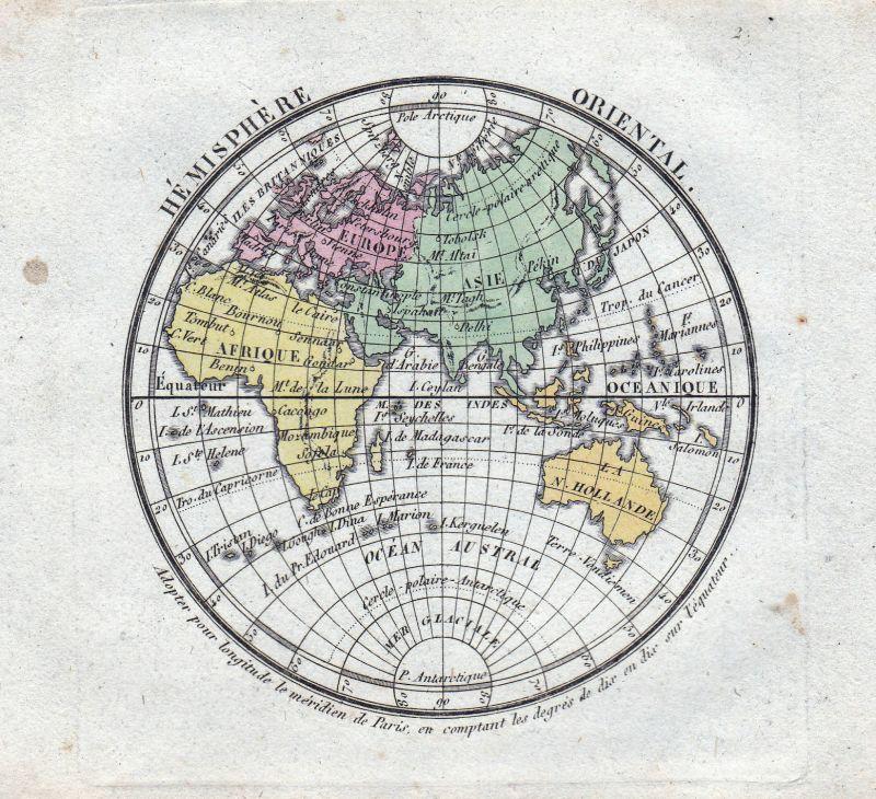 Hémisphère Oriental 1800 Karte World map carte Weltkarte Asia Europa  Australia