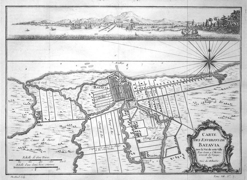 1750 Jakarta Java Indonesia Karte map view Kupferstich antique print Bellin
