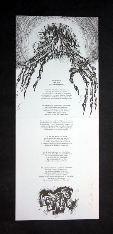 1994 Christoph Höner Francois Villon Filmschabblatt zu einem Gedicht signiert