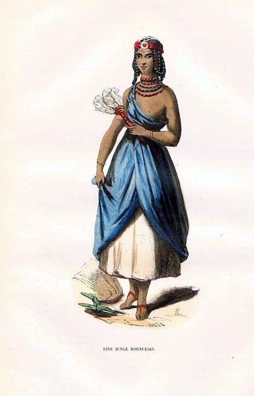 1845 Borneo Afrika Africa Trachten Holzstich costumes antique print