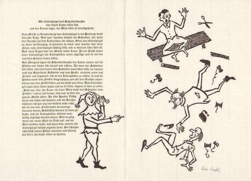 2003 Felix Riedel Original-Linolschnitt zu einer Erzählung Eulenspiegel signiert