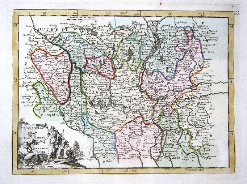 1767 Brandenburg Berlin Stettin Karte Kupferstich antique print Le Rouge