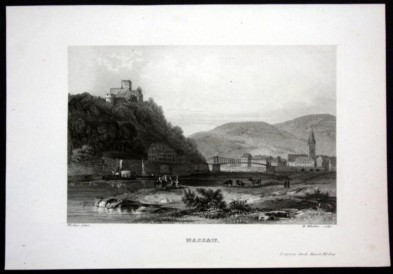Ca. 1850 Nassau Lahn Burg Ansicht view Stahlstich steel engraving 0