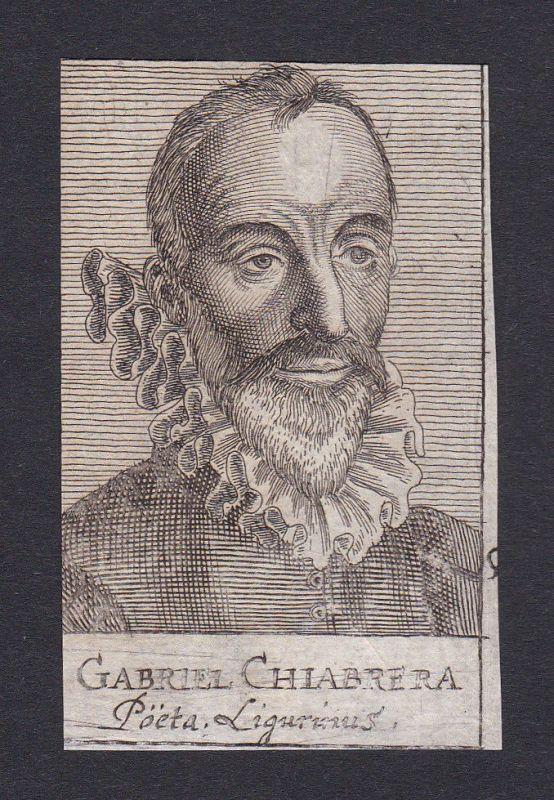 17. Jh. - Gabriello Chiabrera / poet linguist Portrait Kupferstich