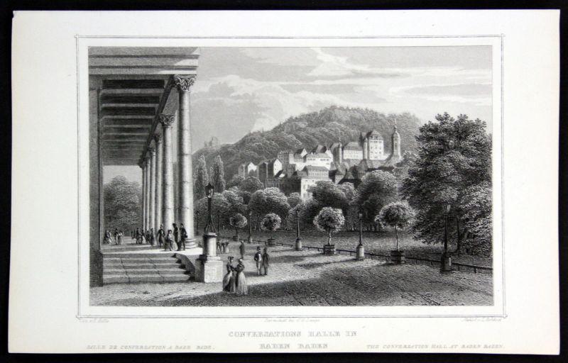 1850 Conversations Halle Baden Württemberg gravure Stahlstich Rohbock Höfle