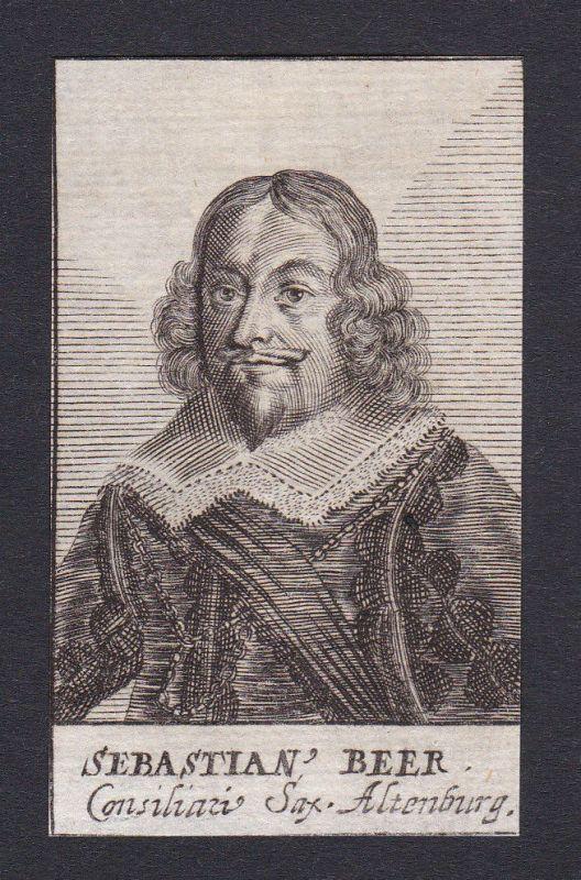 17. Jh. Sebastian Beer Sachsen-Altenburg Portrait Kupferstich antique print
