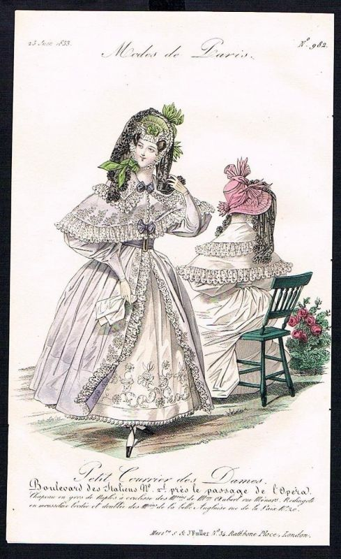 1833  Biedermeier Mode Kupferstich victorian fashion antique print Paris etching