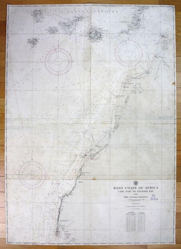 1943 West Coast Africa Cape Juby Levrier Bay Canary Islands Kanaren map