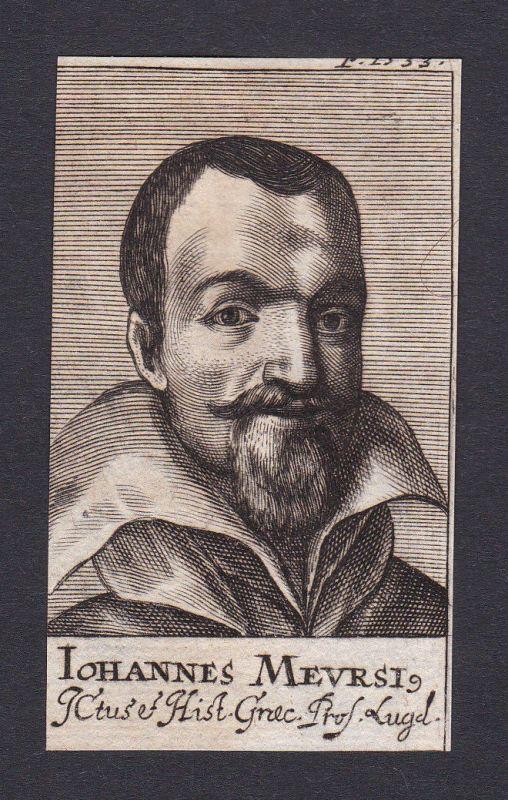17. Jh. Johannes van Meurs / historian Historiker Leiden Portrait Kupferstich