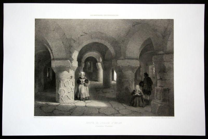 Ca. 1860 Eglise Saint Melar de Lanmeur Bretagne Frankreich France Lithographie