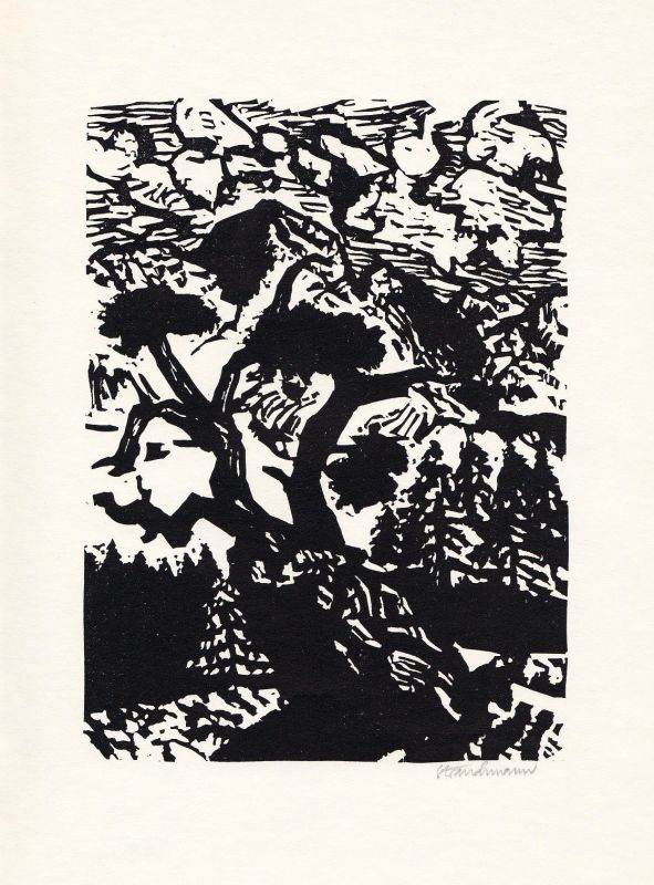 1970 Went Strauchmann Isolde von Conta Linolschnitt zu einem Gedicht signiert