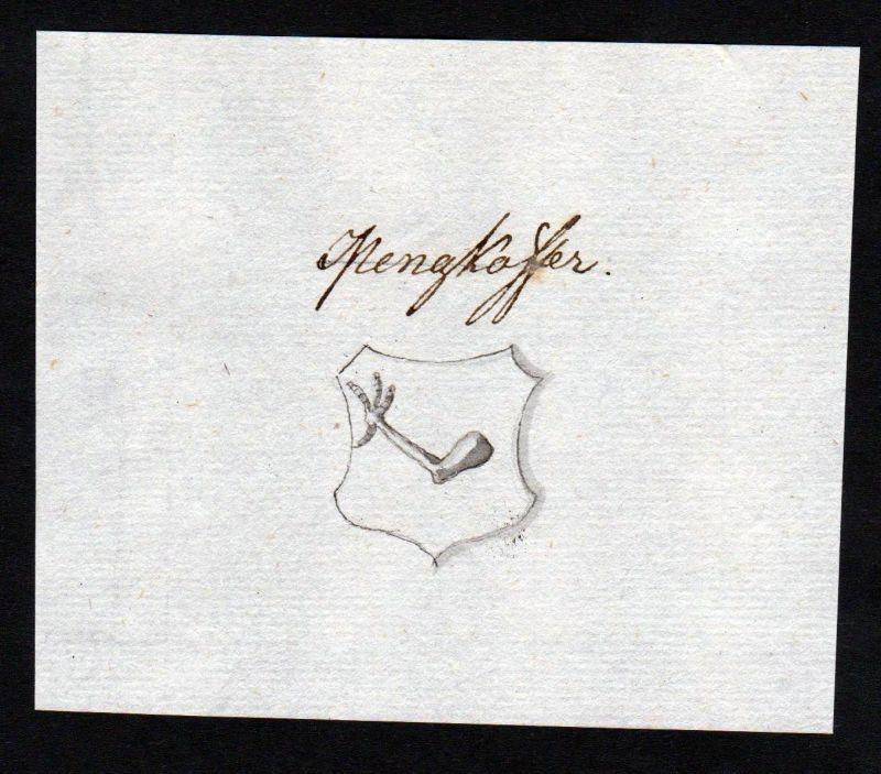 18. Jh. Mengkofer Wappen Handschrift Manuskript manuscript coat of arms