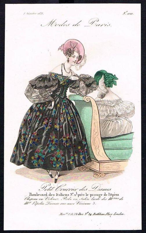 1833  Biedermeier Mode Kupferstich victorian fashion antique print Paris e 89251