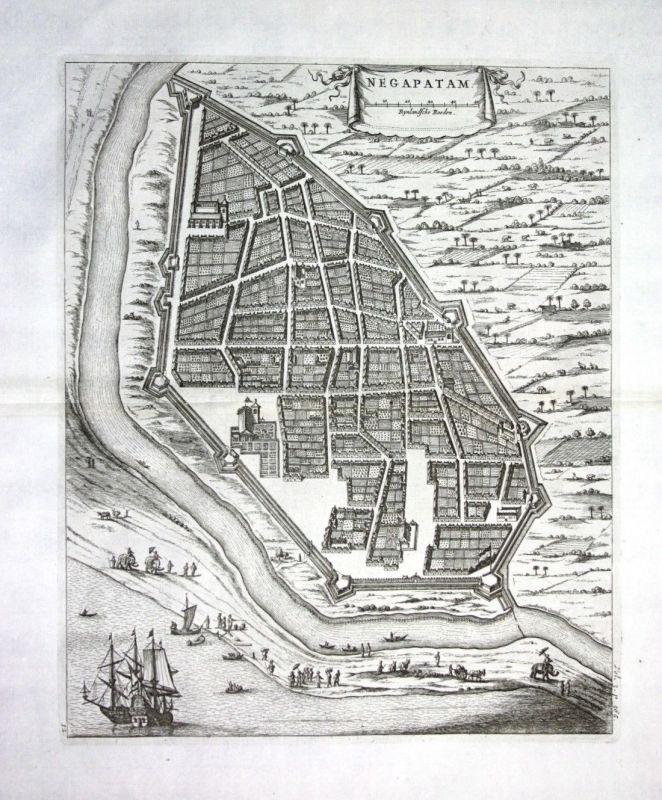 1730 - Nagapattinam Tamil Nadu India Indien - Kupferstich / engraving map Karte