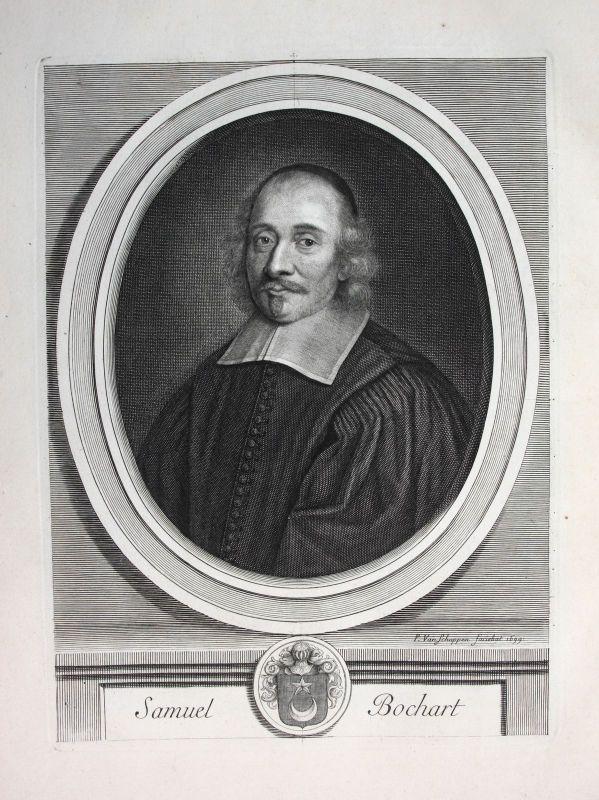 Ca. 1700 Samuel Bochart Theologe theologien pretre priest Portrait Kupferstich