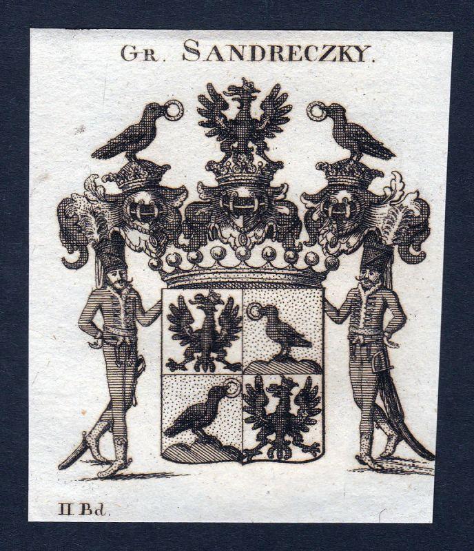 1820 Sandreczky Sandreczki Wappen Adel coat of arms Kupferstich engraving