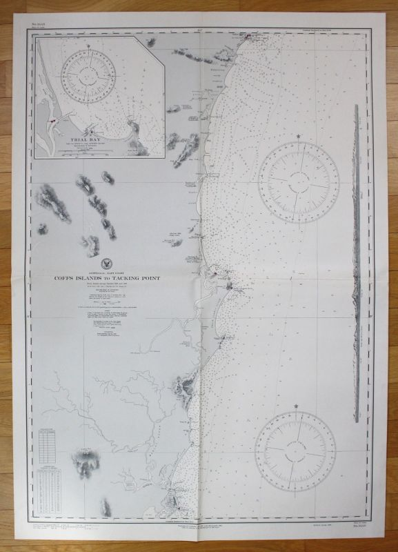 1943 Australia - East Coast - Coffs Islands to Tacking Point Australien map