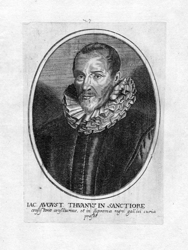 1650 Jacob August Thuan historien Historiker Portrait Kupferstich antique print