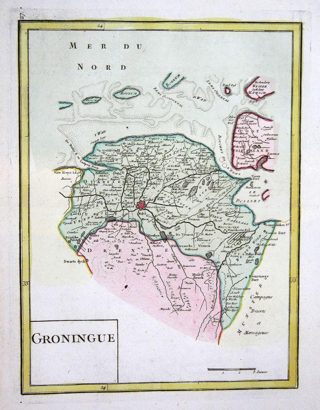 1767 Groningen Nederland Holland Karte map Kupferstich antique print Le  Rouge