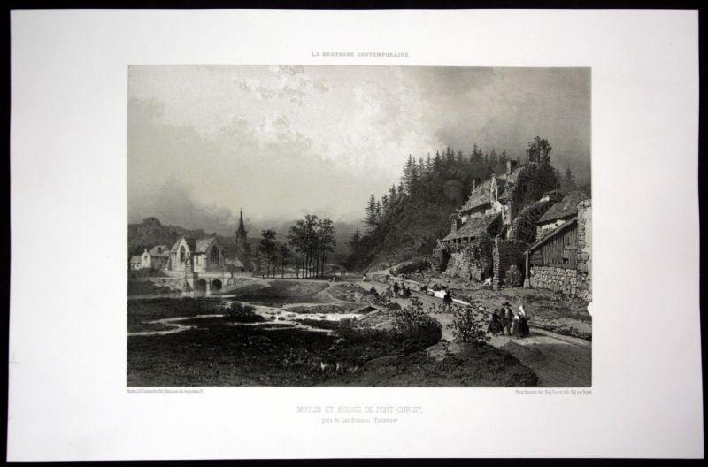 Ca. 1860 Pont Christ La Roche Maurice Bretagne Frankreich France Lithographie