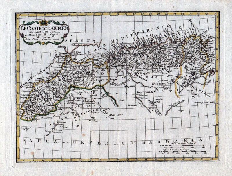 1788 Africa Morocco Algeria Gibraltar Tunis Tunesia Karte map Borghi Pazzini