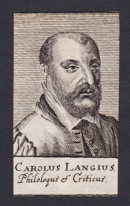 17. Jh. Charles de Langhe philosopher Portrait Kupferstich antique print gravure
