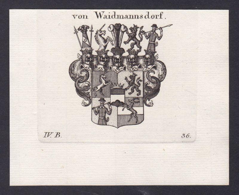1820 Waidmannsdorf Wappen Adel coat of arms Heraldik Kupferstich antique print