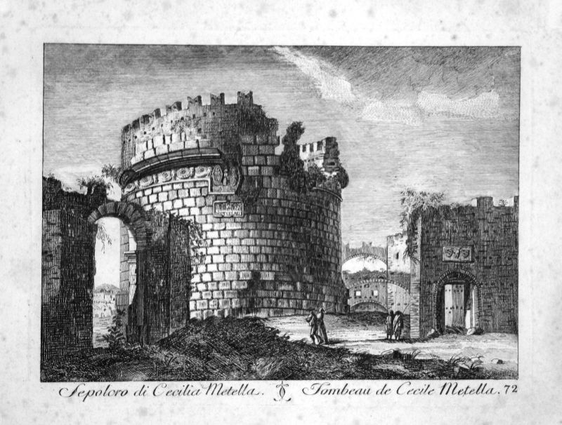 1700 Mausoleo di Cecilia Metella Roma acquaforte incisione Kupferstich engraving