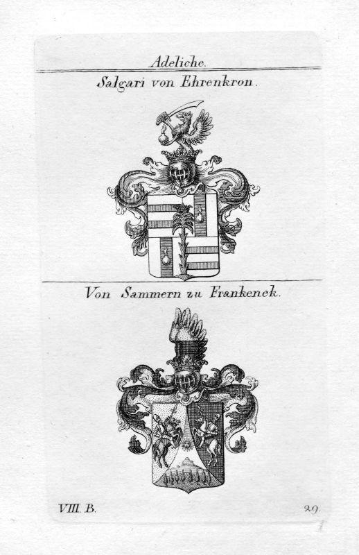 1820 Salgari Ehrenkron / Sammern Frankenek - Wappen Adel coat of arms heraldry