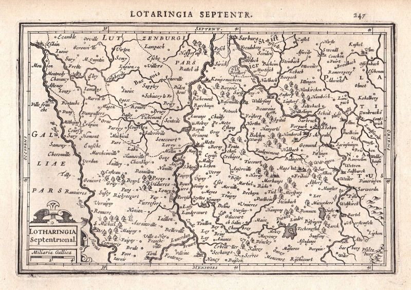 1628 Lotharingia Lothringen Lorraine Metz Nancy Frankreich France map Mercator