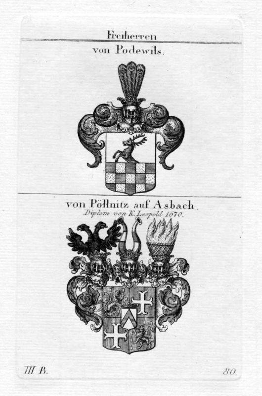Podewils Pöllnitz - Wappen Adel coat of arms heraldry Heraldik Kupferstich